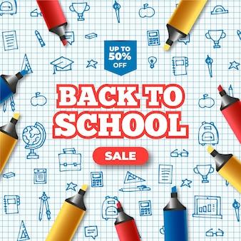 Realistische banner voor terug naar schoolverkoop