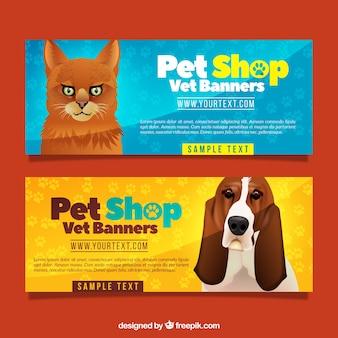 Realistische banners met huisdieren