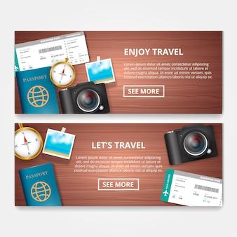 Realistische banners met reisartikelen