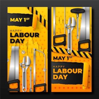Realistische banners van de dag van de arbeid Gratis Vector