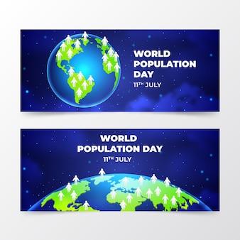 Realistische banners voor de wereldbevolkingsdag