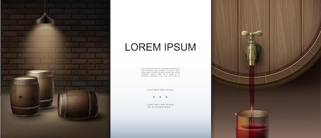 Realistische barelementen met plaats voor tekst bakstenen muur hangende lamp schijnt op houten vaten wijn