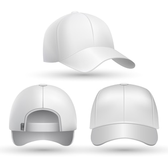 Realistische baseball cap voorkant, zijkant, achterkant bekeken set.
