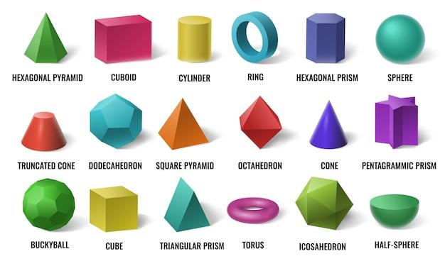 Realistische basisvormen in 3d-kleur. effen gekleurde geometrische vormen, cilinder en kleurrijke kubusvorm