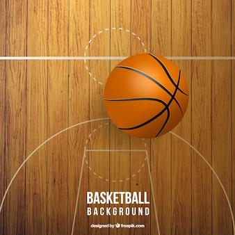 Realistische basketbalveld met bal