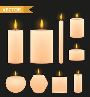 Realistische beige kaarsen set. brandende kaars collectie. op een zwarte achtergrond. illustratie.