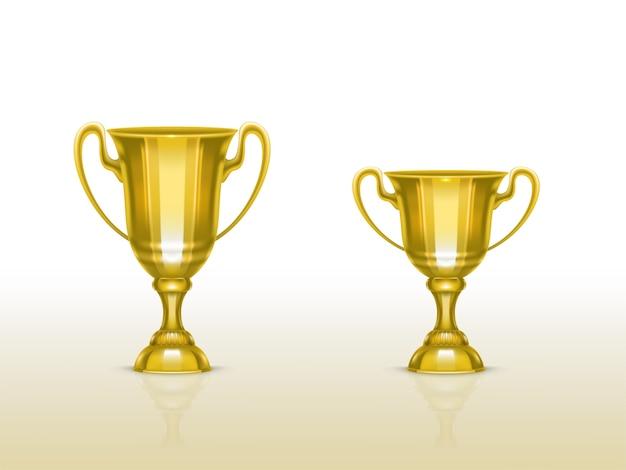 Realistische beker, gouden trofee voor winnaar van de competitie, kampioenschap.