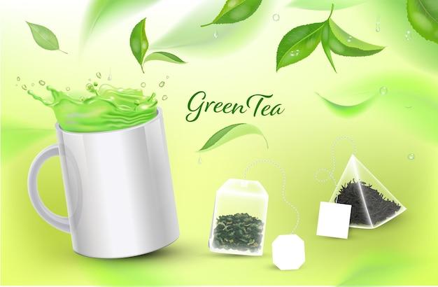 Realistische beker met groene thee en theezakjes en theeblaadjes vectorillustratie