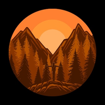 Realistische bergen landschap zonsondergang panorama pijnbomen en bergen silhouetten Premium Vector