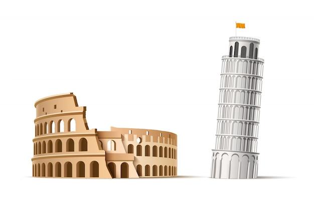 Realistische beroemde italiaanse landmark pisa toren en coliseum