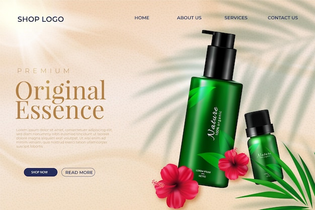 Realistische bestemmingspagina-sjabloon voor cosmetische producten
