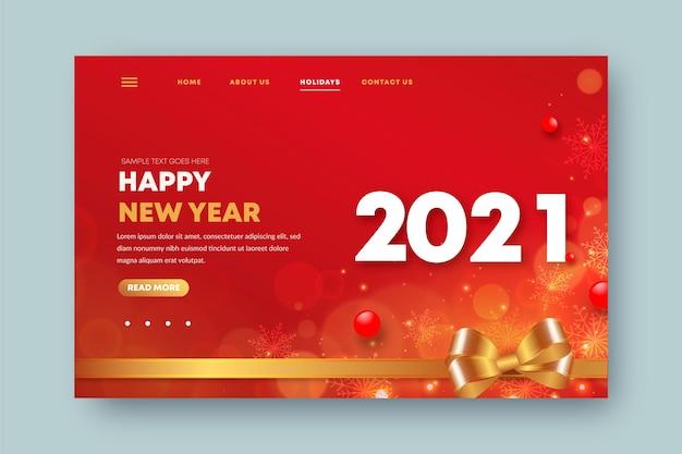 Realistische bestemmingspagina voor het nieuwe jaar