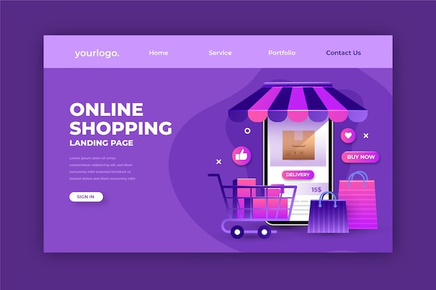 Realistische bestemmingspagina voor online winkelen