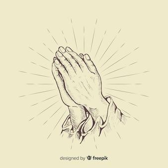 Realistische biddende handen achtergrond