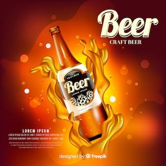 Realistische bier advertentie sjabloon