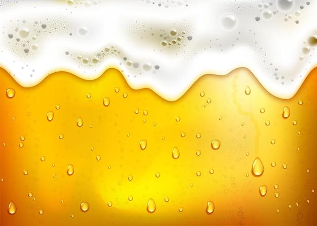 Realistische bierachtergrond met weelderig wit schuim, bubbels en druipende druppels