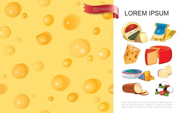 Realistische biologische kaas kleurrijke achtergrond