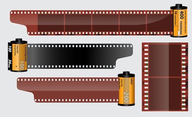 Realistische bioscoop klepel bord geïsoleerd of filmstrip bioscoop 35 mm type
