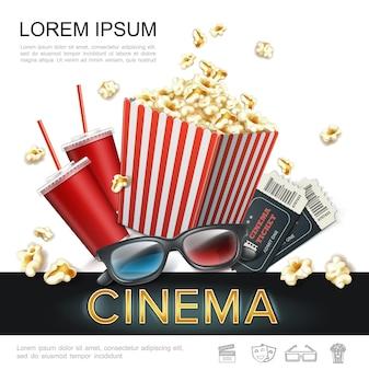 Realistische bioscoop kleurrijke sjabloon met frisdrank in papieren beker popcorn in rood gestreepte emmer kaartjes 3d bril illustratie