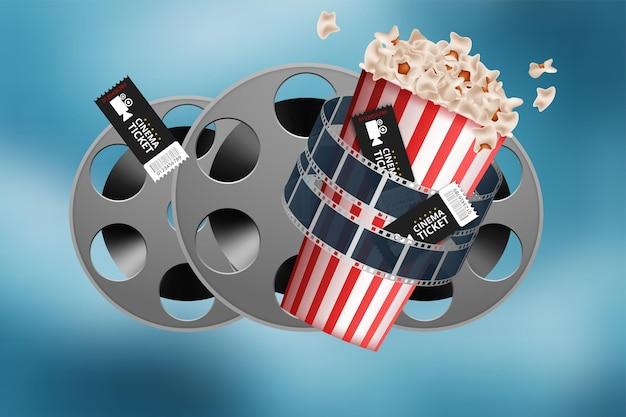 Realistische bioscoopfilmachtergrond met filmrol, klepel, popcorn, 3d-bril