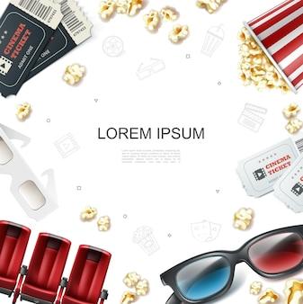 Realistische bioscoopsjabloon met kaartjes rode zetels 3d-bril en popcorn in gestreepte emmer doos illustratie