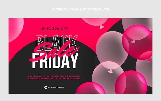 Realistische black friday social media postsjabloon met roze ballonnen