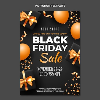 Realistische black friday-uitnodigingssjabloon