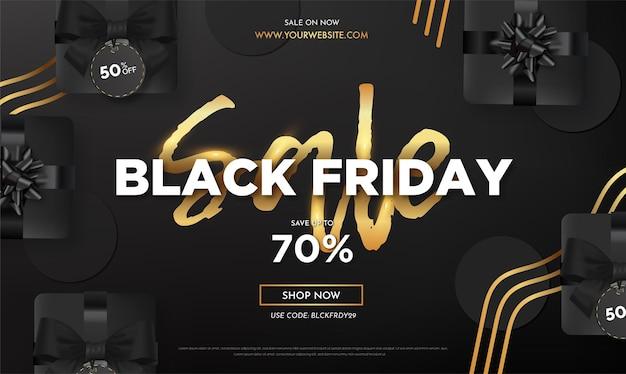 Realistische black friday-uitverkoop met elegante tekst