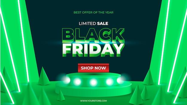 Realistische black friday-verkoopbanner met groen neon