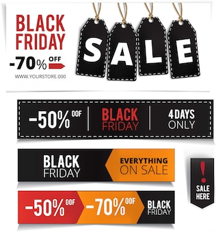 Realistische black friday verkoopbanner set