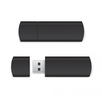 Realistische black usb flash drive mockup - open en gesloten versies