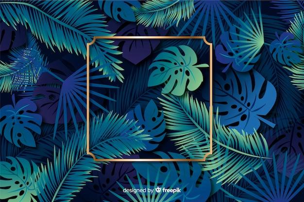 Realistische bladeren met gouden frame achtergrond