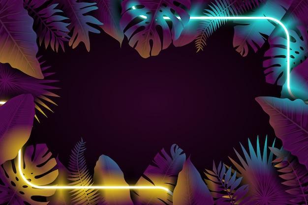 Realistische bladeren met neon frame dag en nacht abstract concept