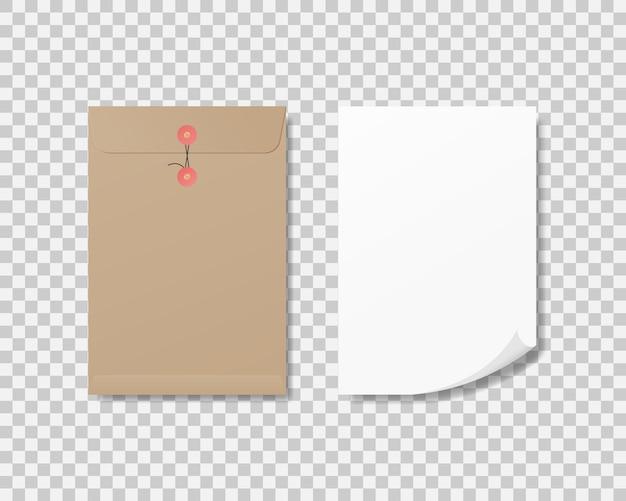 Realistische blanco a4-papier en papieren envelop