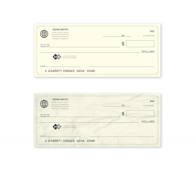 Realistische blanco bankcheque. nieuwe en verfrommelde cheque.