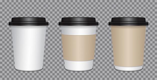 Realistische blanco mock up papieren bekers met zwart plastic deksel. koffie om mee te nemen, mok pakken