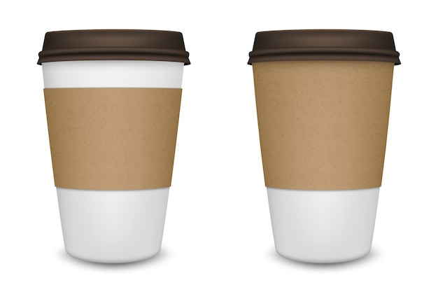 Realistische blanco papier koffiekopje ingesteld op witte achtergrond. sjabloon.