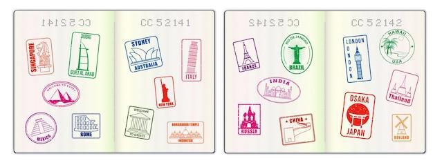 Realistische blanco paspoortpagina's of leeg paspoort met watermerk en stempels