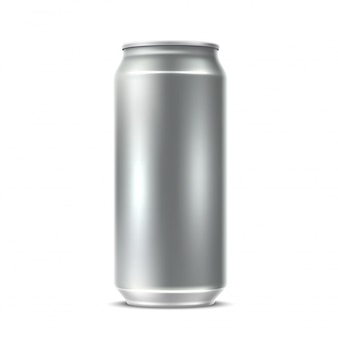 Realistische blanco zilveren kan voor frisdrank, sap, watter of bierpakket.