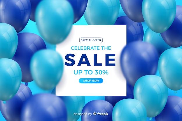 Realistische blauwe ballonnen verkoop achtergrond met tekst