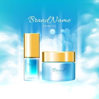Realistische blauwe cosmetische advertentieaffiche