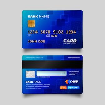 Realistische blauwe creditcard