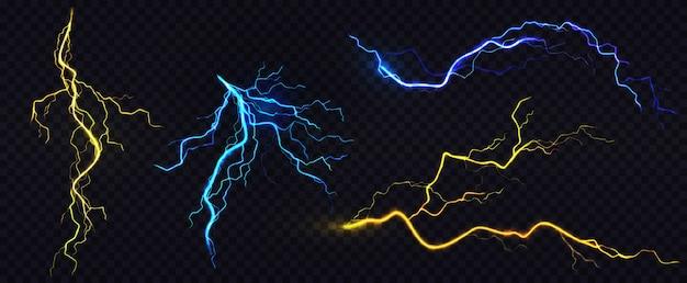 Realistische blauwe en gele bliksemschichten