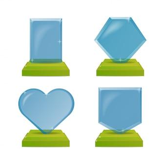 Realistische blauwe en groene glazen trofee awards. illustratie geïsoleerd