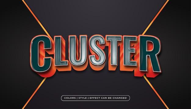 Realistische blauwe en oranje tekststijl met kunststof textuureffect