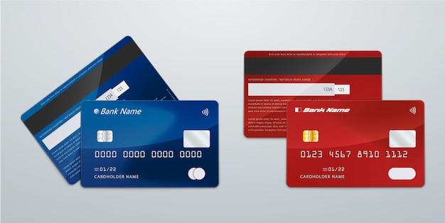 Realistische blauwe en rode creditcard