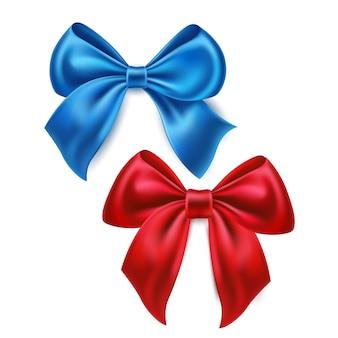 Realistische blauwe en rode satijnen strik voor feestvakantie