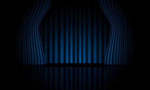Realistische blauwe gordijn open podium kamer vector achtergrond vectorillustratie