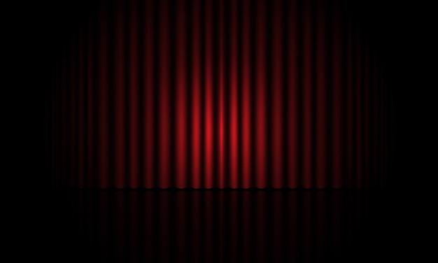 Realistische blauwe gordijn sluit podium kamer vector achtergrond vectorillustratie