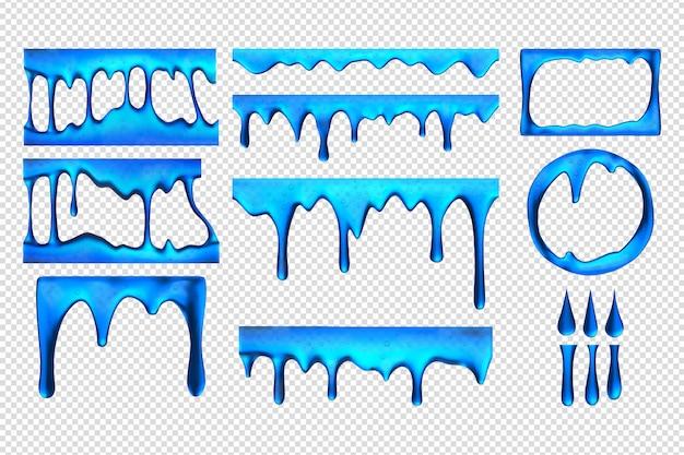 Realistische blauwe slijmdruppels set collectie